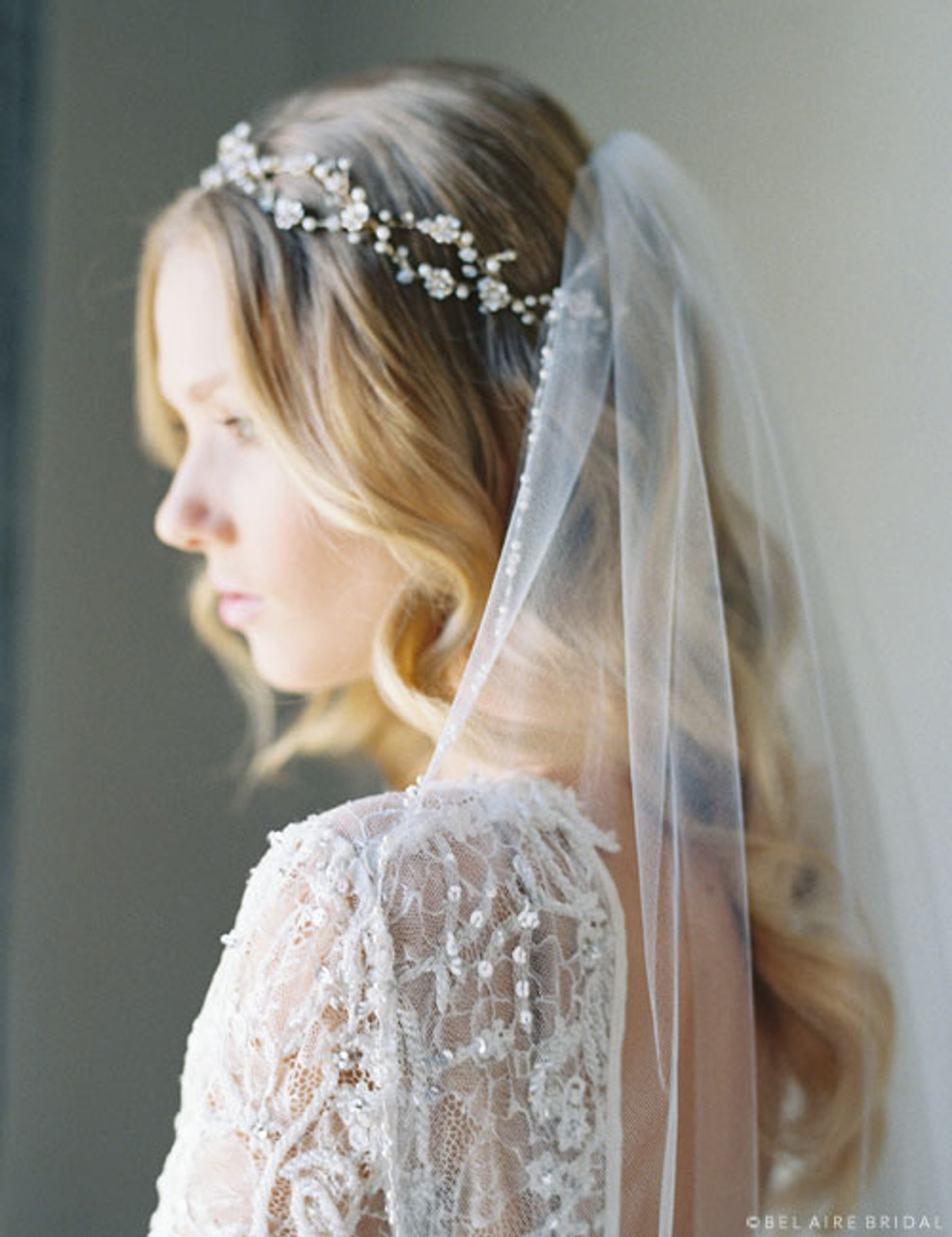 Bel Aire Bridal 6730 - Weaving flower garland with delicate pearl accents