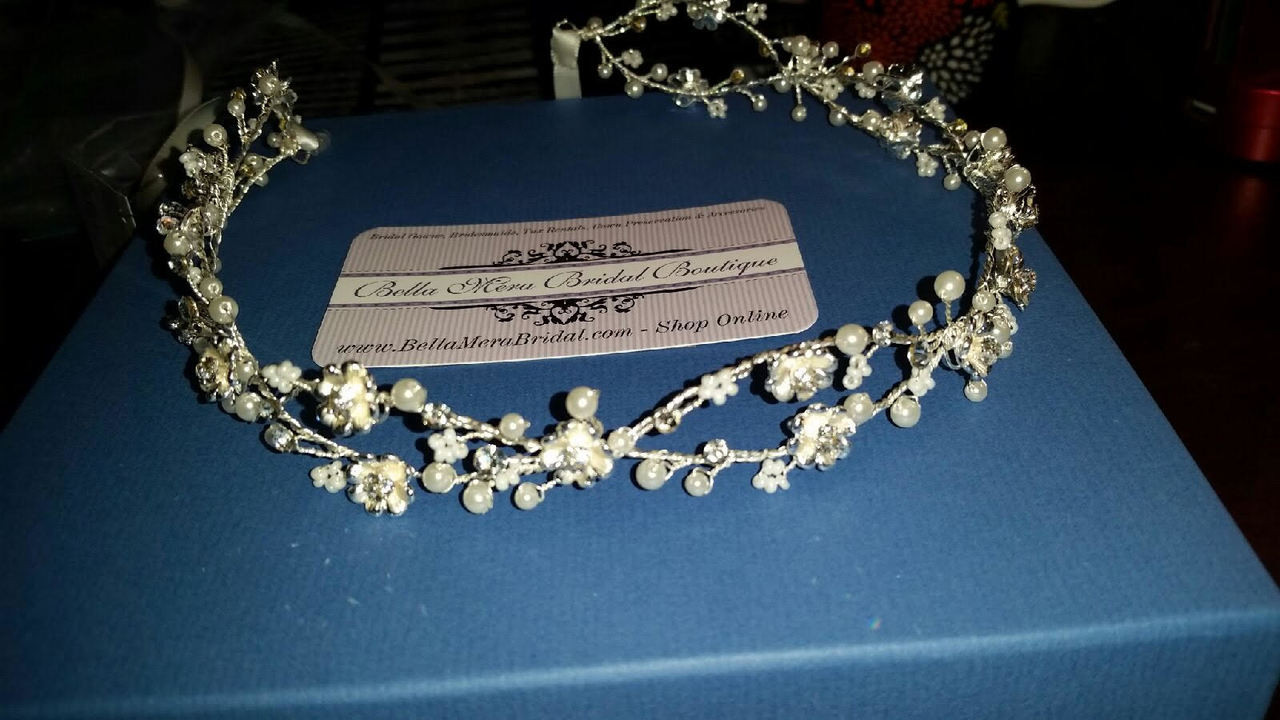 Silver Bel Aire Bridal 6730 - Weaving flower garland with delicate pearl accents