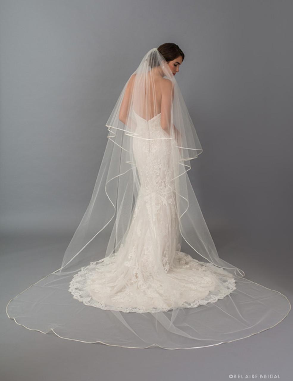 Bridal Veil Ivory 2 Tier Fingertip Length Satin Ribbon Edge Scattered Rhinestone