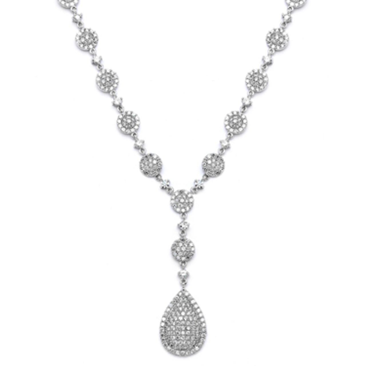 Mariells Luxurious Pave CZ Wedding Necklace 4197N