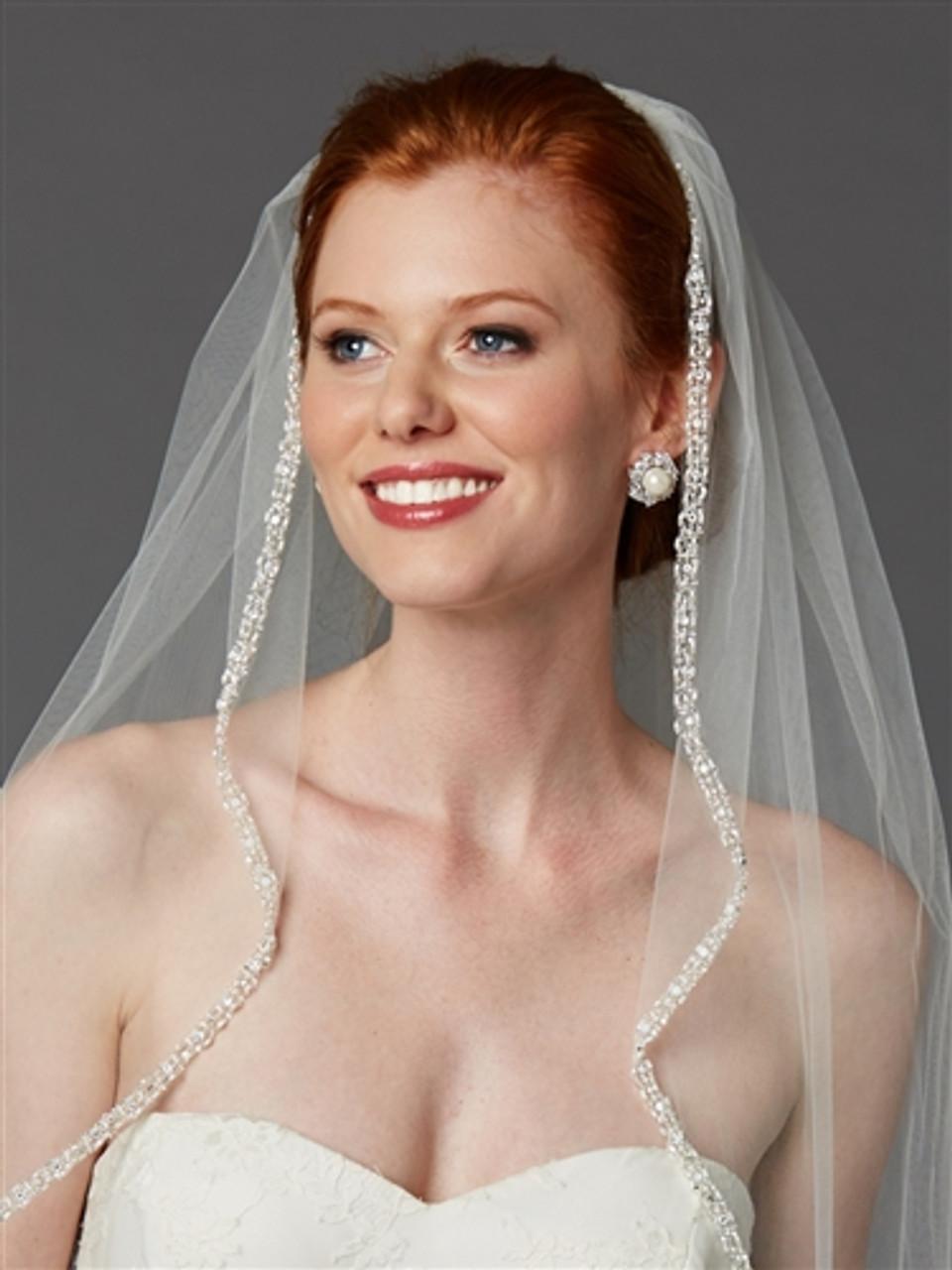 1 Layer Bridal White Ivory Fingertip Pearl Crystal Silver Beaded Wedding Veil