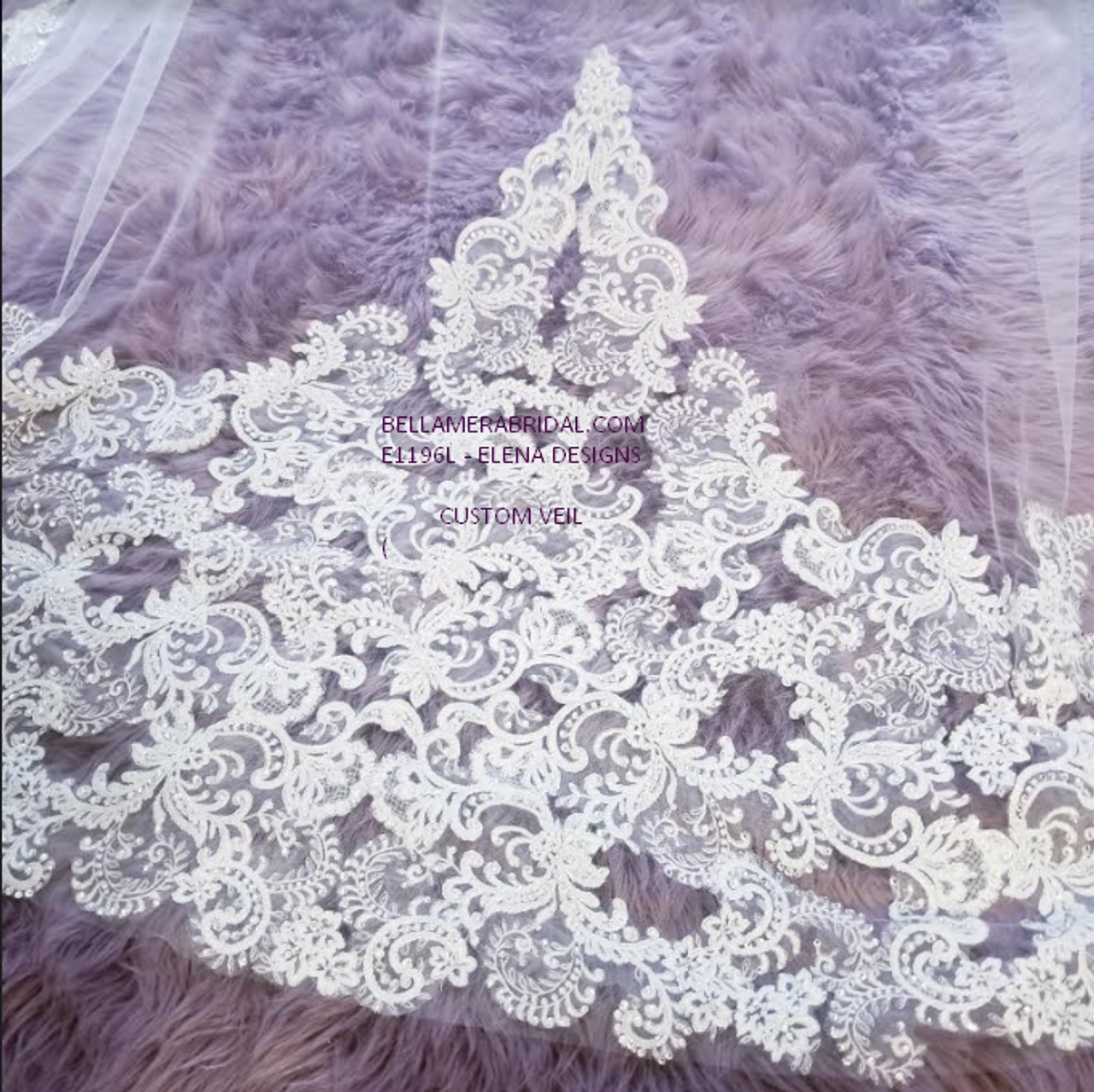 Elena Designs Wedding Veil Style E1196L - Cathedral Beaded Lace  edge veil - 120x108