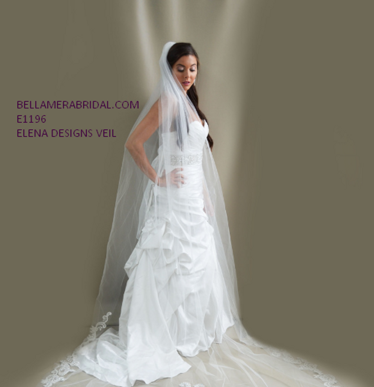 Elena Designs Wedding Veil Style E1196L -188 inches long - Royal Cathedral Beaded Lace edge veil