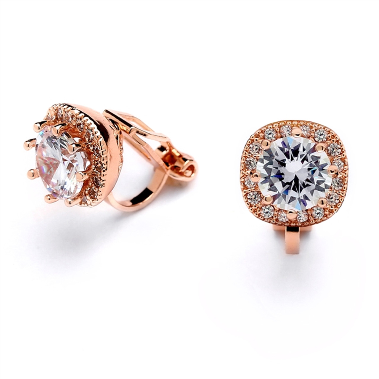 Wedding Earrings Solitaire Crystal Clip On Earrings Gold or Rose Gold Silver CZ Solitaire Bridal Jewellery Bridal Accessories
