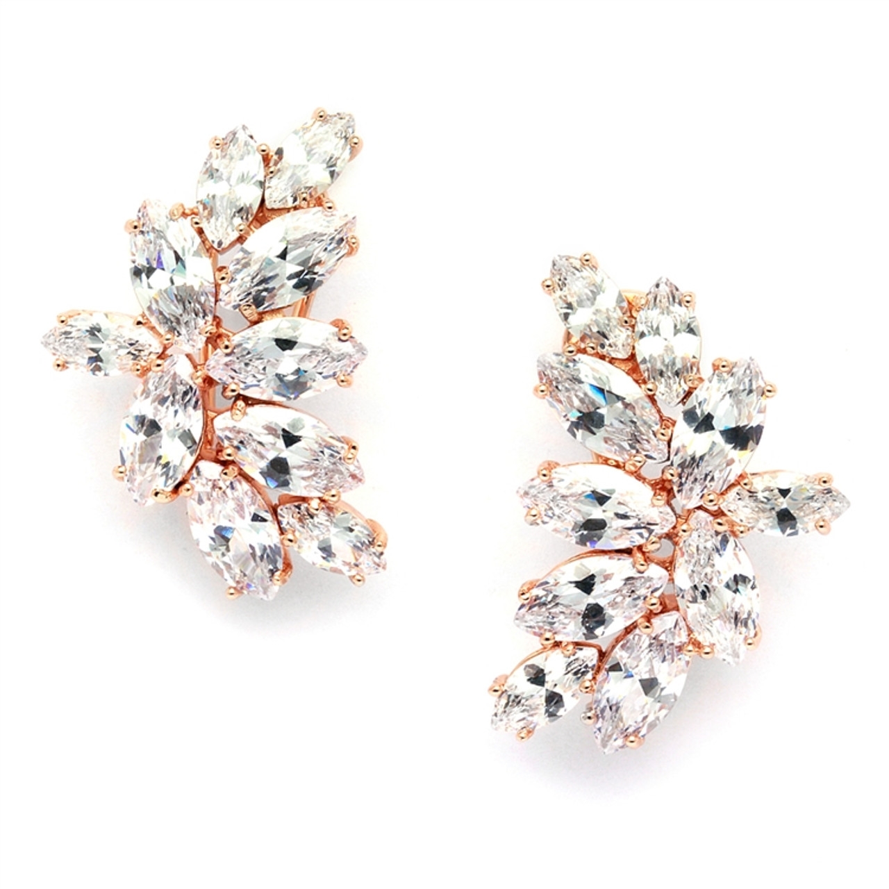 Mariell Shimmering Cubic Zirconia Marquis Cluster Gold Clip-On Earrings 3598EC-RG