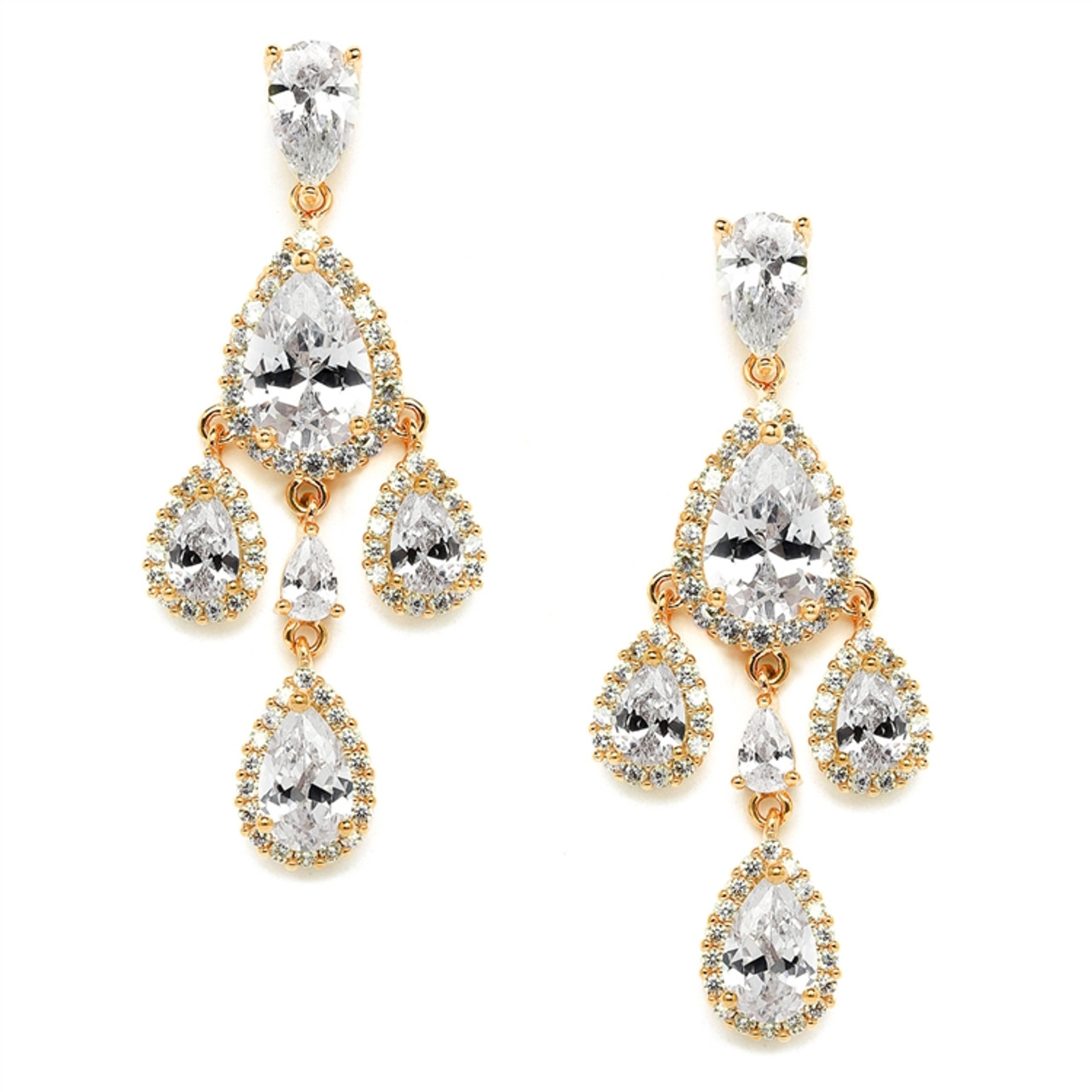 Mariell Petite Gold Clip On CZ Chandelier Earrings with Pear-Shaped Halo Teardrops 4555EC-G