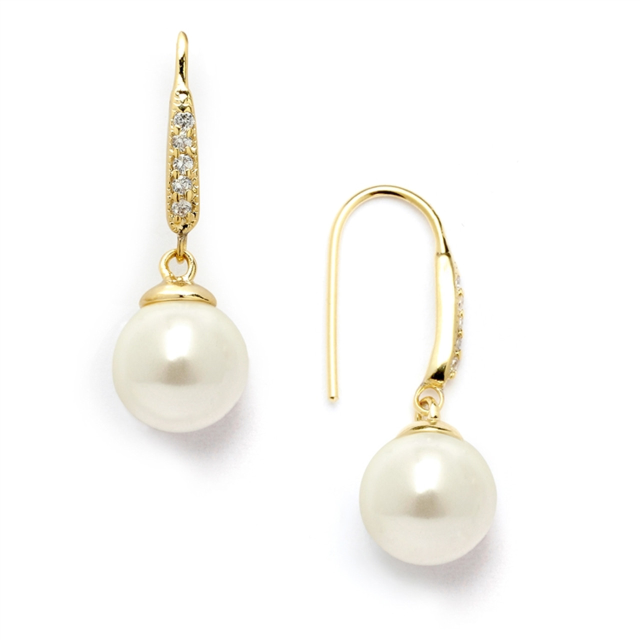 Mariell Vintage French Wire Bridal Earrings with Ivory Pearl Drops and 14K Gold Plated CZ Accents 4560E-I-G