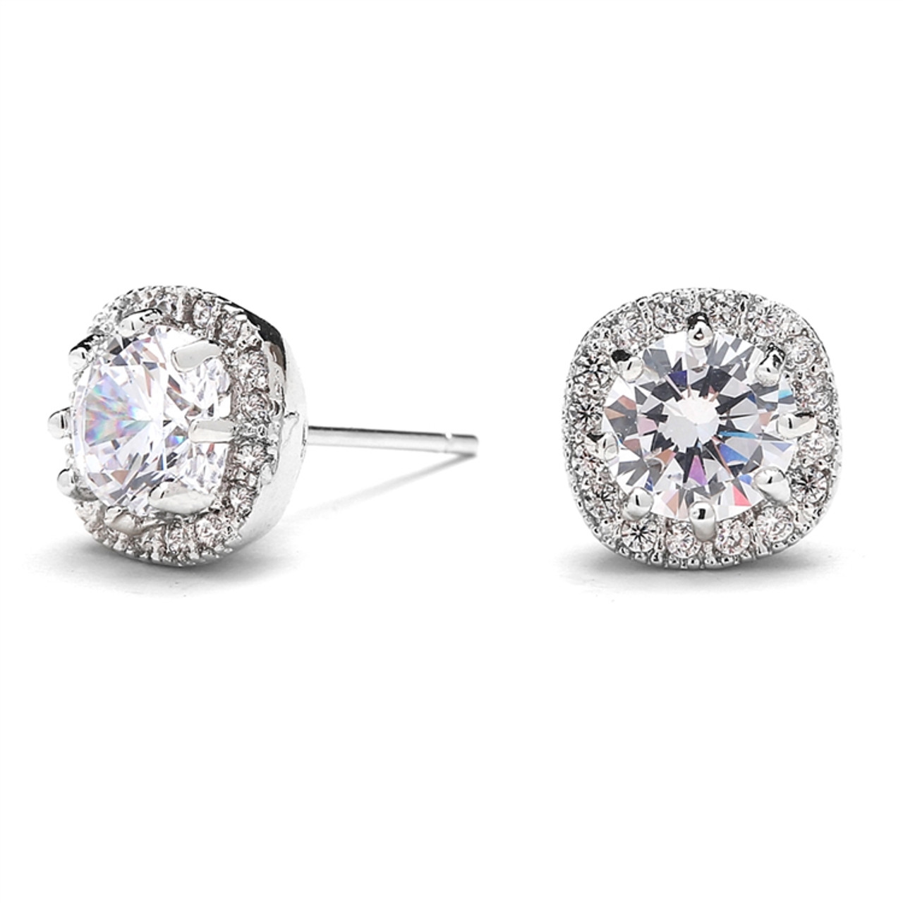 Cubic Zirconia Round Cut Stud Earrings with Halo Rosegold