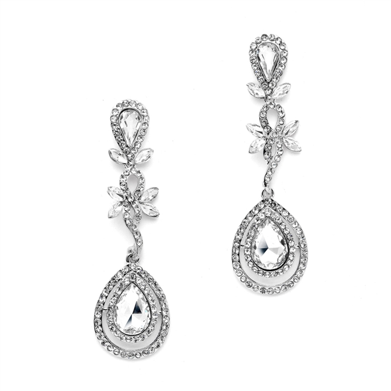 Mariell Abstract Statement Earrings with Framed Pears and Petals  4539E-CR-S