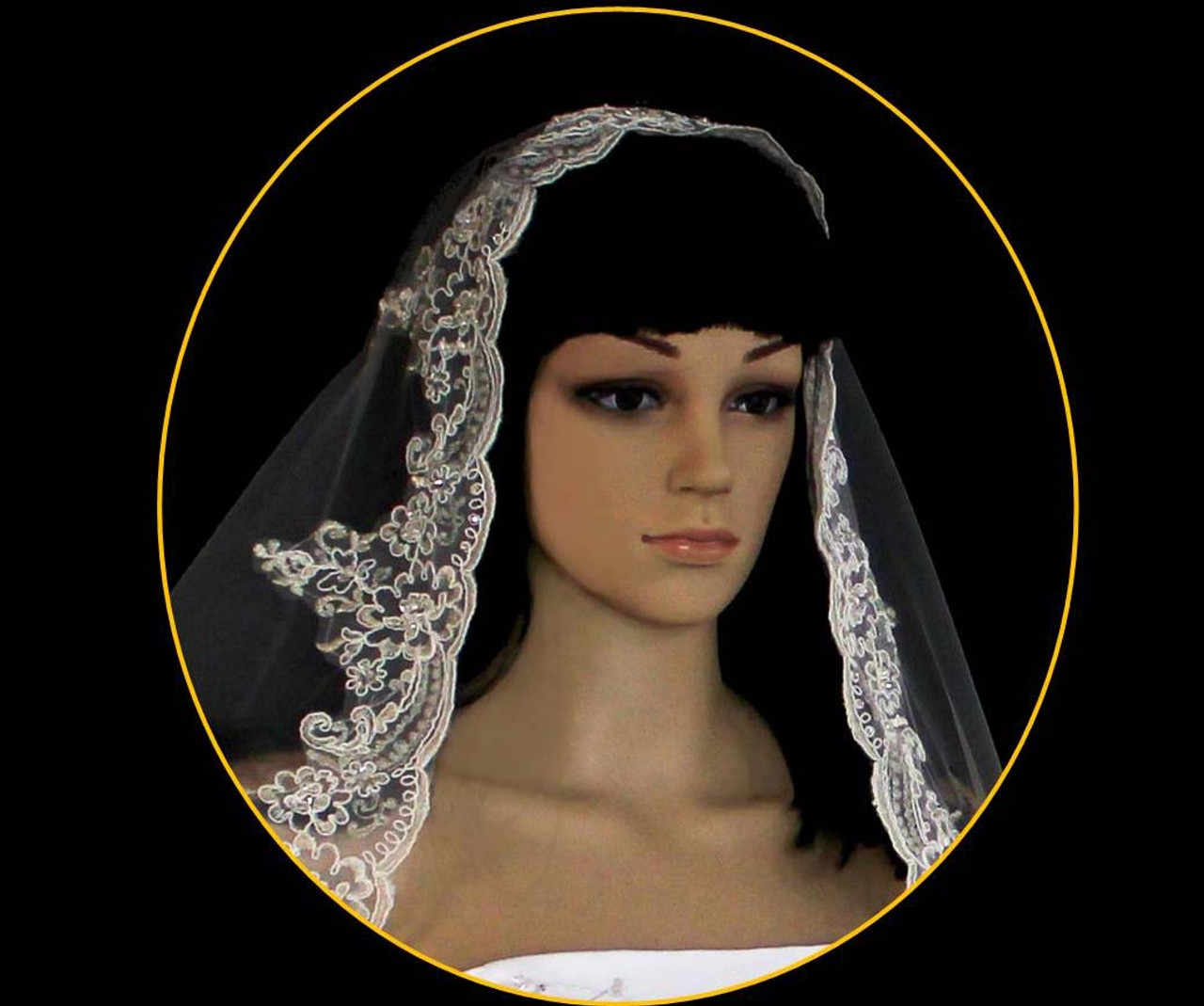 Noelle & Ava Collection - 108 Inches - Romantic Silver Thread Alencon Lace Veil Accented With Rhinestones, Bugle Beads. Seeds And Sequins – Mantilla Full Circle