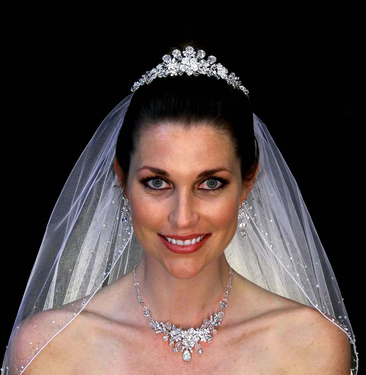 Noelle & Ava - Luxurious Tiara With Plush Hand Wired Petals And 5 Large Brilliant Teardrop Cubic Zirconium, Accented With Crystals