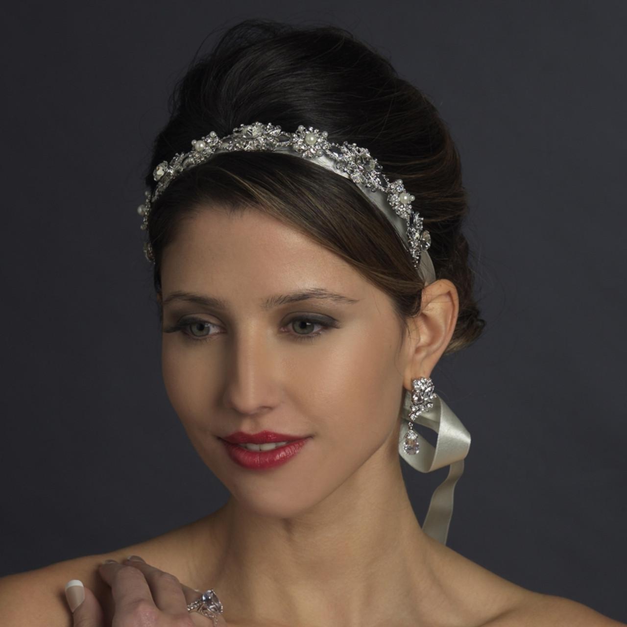 Antique Silver Crystal & Ivory Pearl Bridal Ribbon Headband Headpiece 931