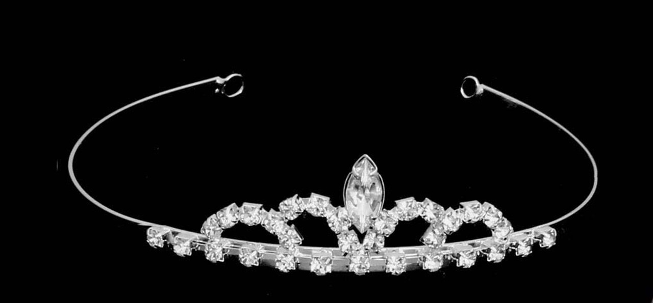 Noelle & Ava - Rhinestone Child Tiara With Large Marquise Rhinestone Center
