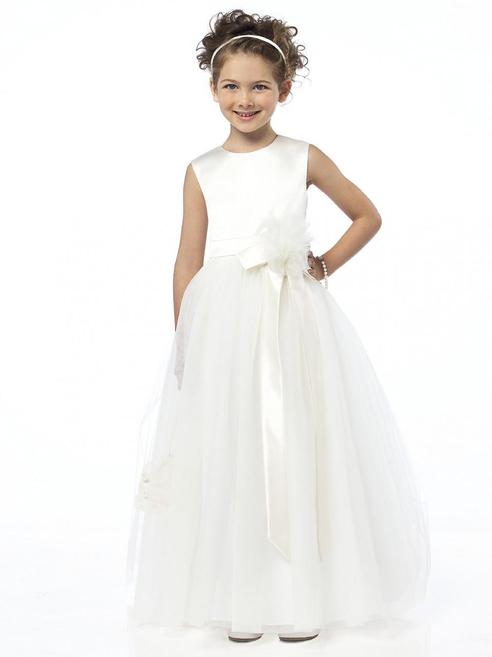Dessy Flower Girl Dress FL4030 - Matte Satin/Tulle