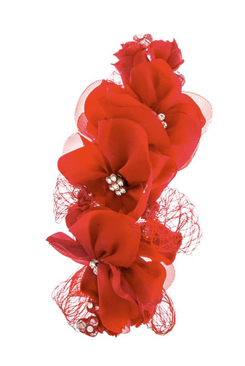 Ruby Red Flower Hair Clip