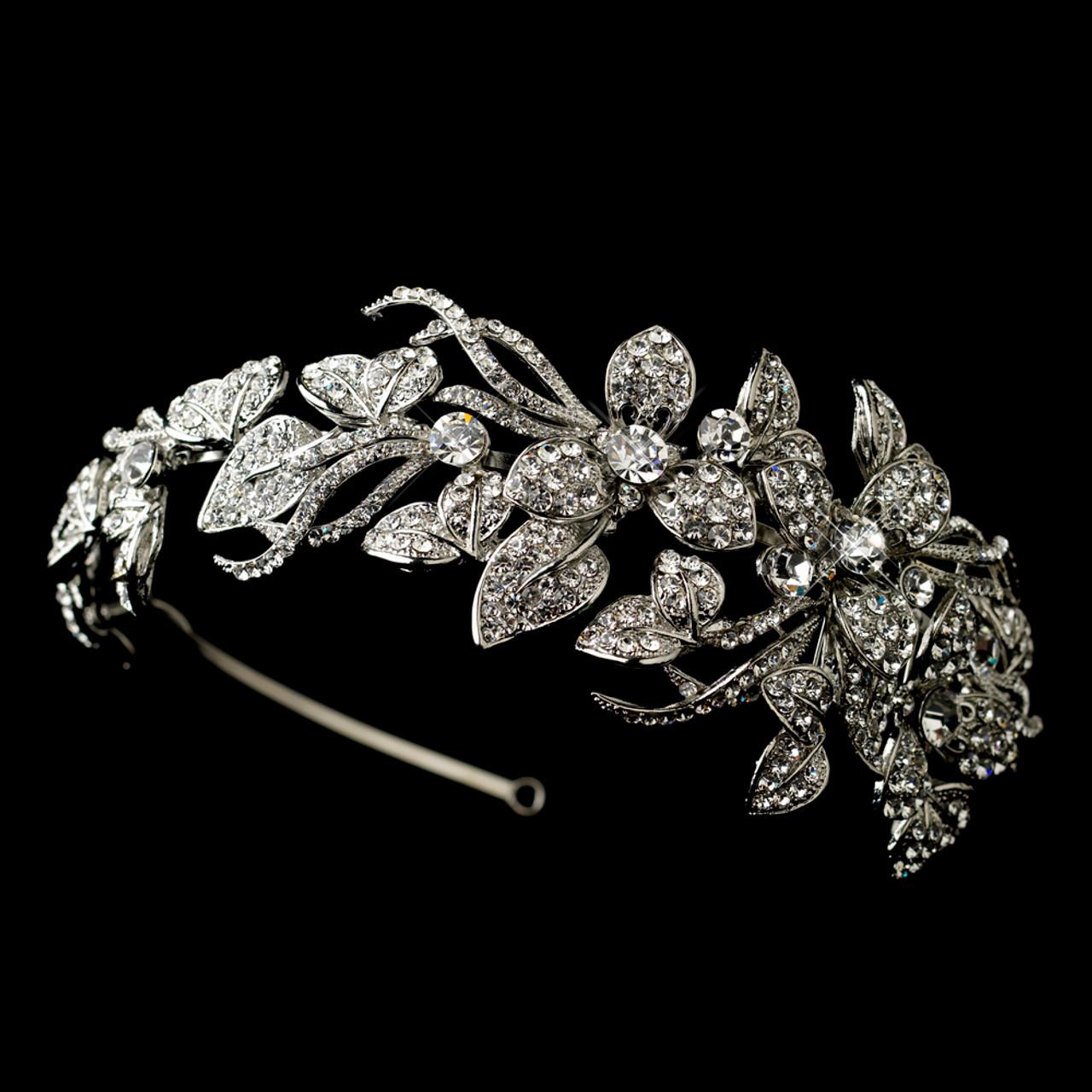 Antique Silver Rhinestone Side Accent Flower Vine Bridal Headband Headpiece