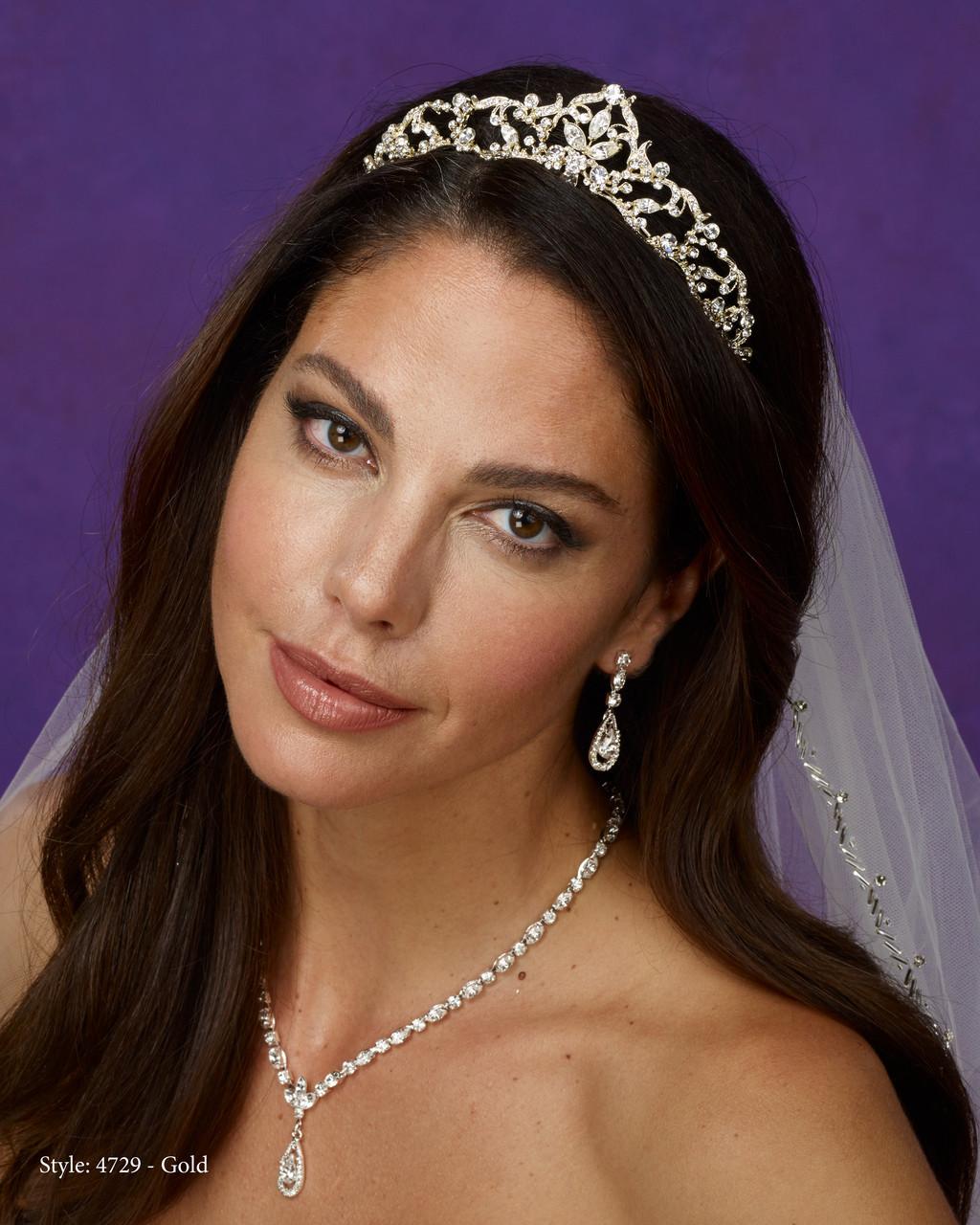 Marionat Bridal 4729 Gold rhinestone tiara - Le Crystal Collection