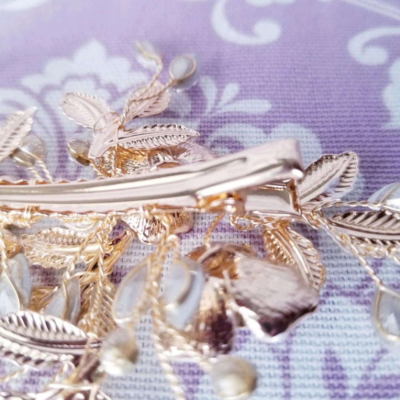 Bella Mera Bridal Gold Flowers Leaves Clip - B601
