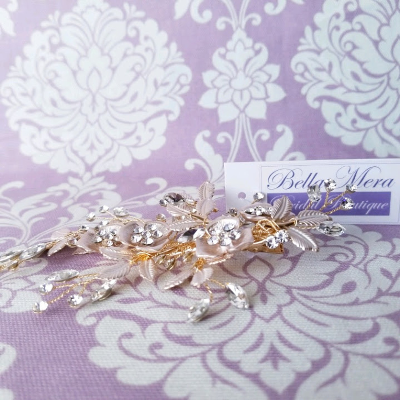 Bella Mera Studio Gold Flowers Leaves Clip - C601 - Marquis Stones