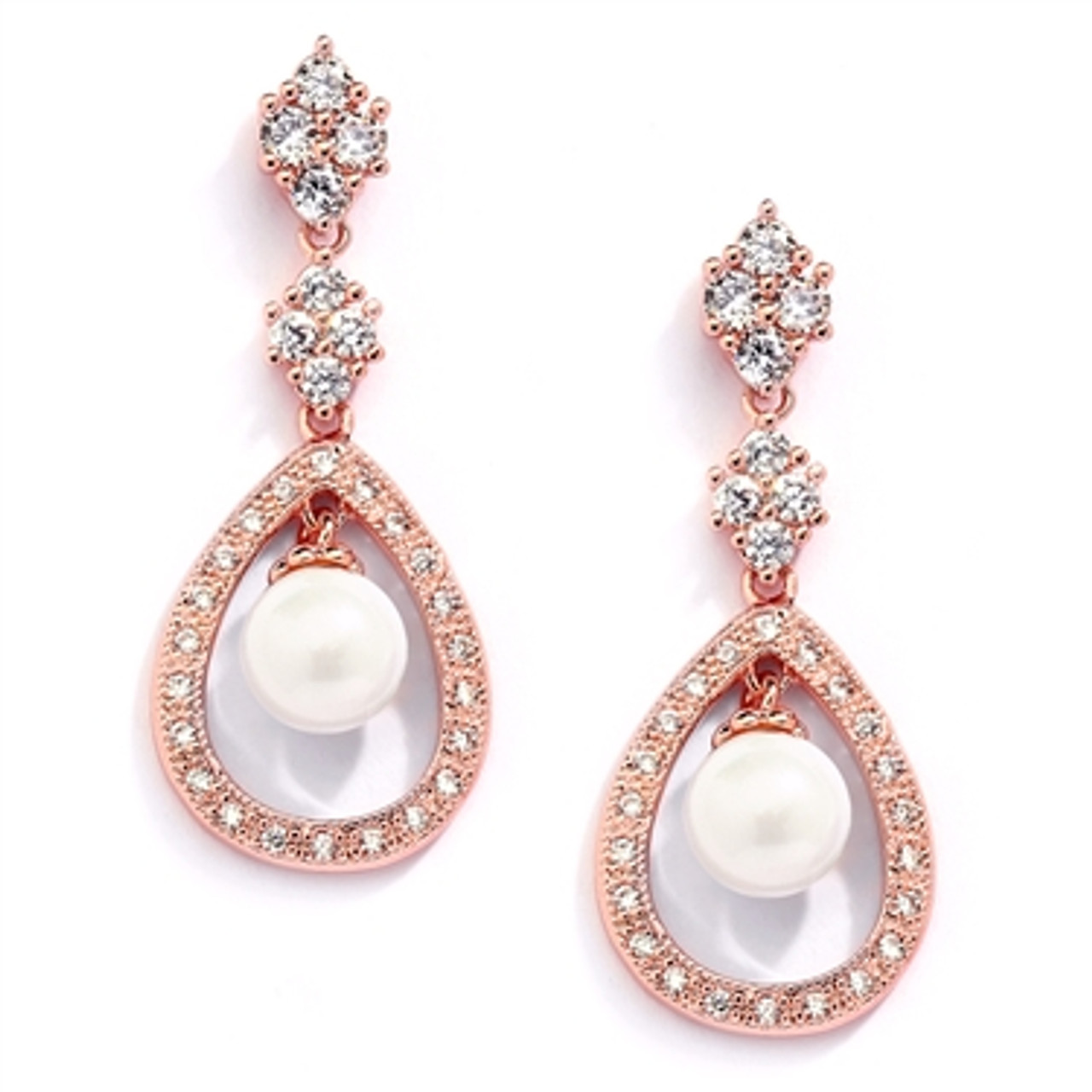 Mariell's  Rose Gold CZ Wedding Clip Earrings with Caged Pearl 700EC-RG