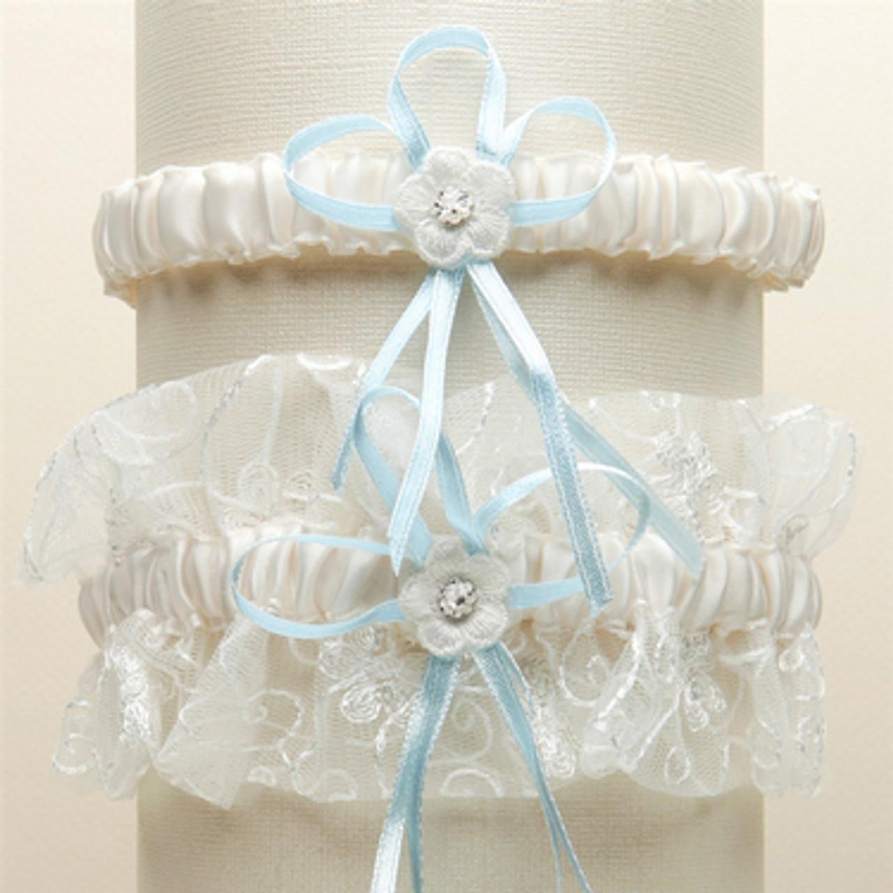 Vintage Wedding Garter Set With Floral Embroidered Tulle Ivory
