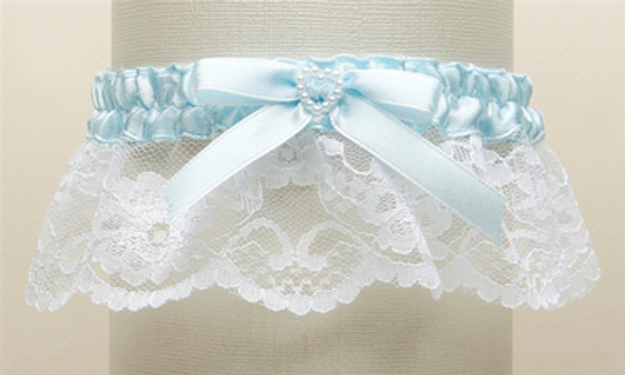 Lace Garter With Ribbon Bow /& Pearl Heart Bead White Blue Ivory Wedding Bridal