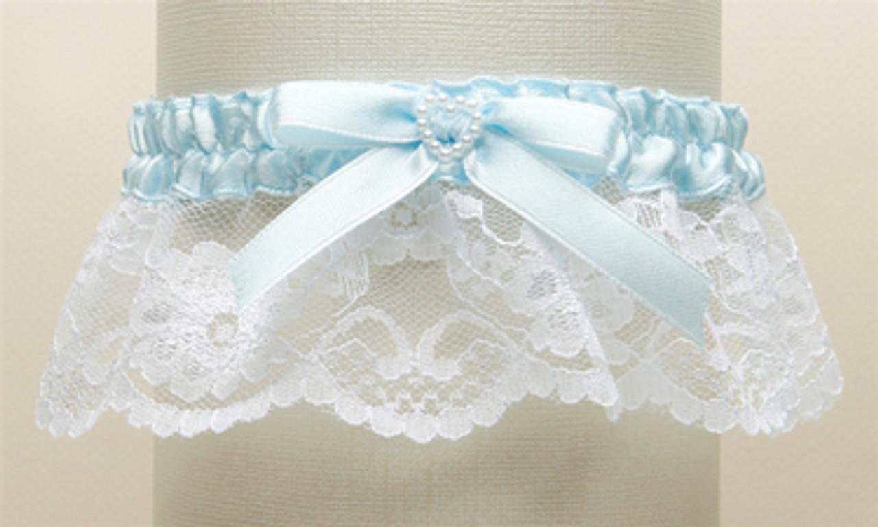 Vintage Style Garter w Pearls Ivory Rose Lace Garter Bridal Blue Garter Something Blue WEDDING Garter Set