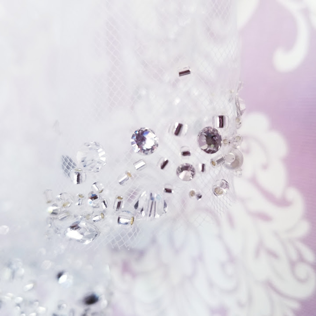 Cathedral Beaded Veil Bugles Beads Sequins /& Beads 120 Inches Cathedral Heavy Beaded Scallop Edge Cathedral Beaded Veil Fast Ship