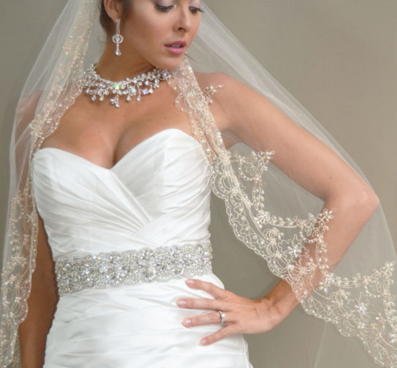"""Elena Designs Wedding Veil Style E1184L - 45"""" Inches - Gold Embroidered - Champagne Beads - Pearls - Sequins"""