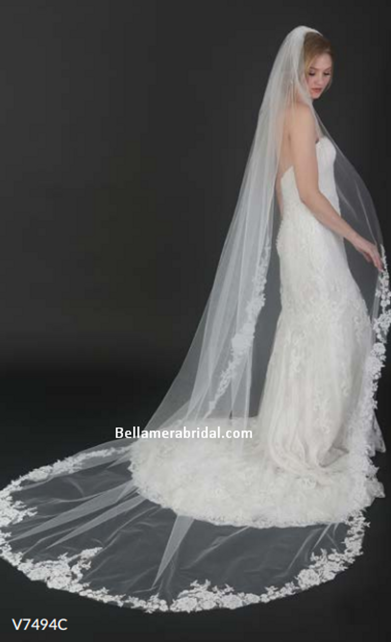 """Bel Aire Bridal Veils V7494C - 108"""" Inches -  Cathedral with floral sequined lace"""