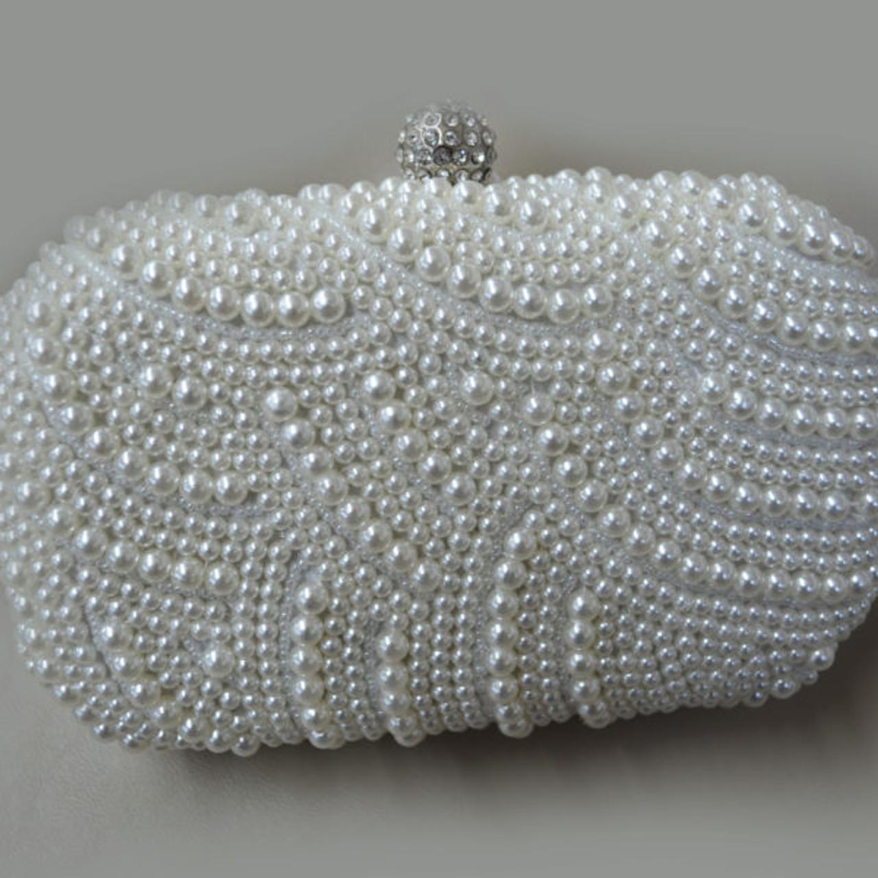 Elena Designs Heavy Beaded Pearl Clutch EBG04