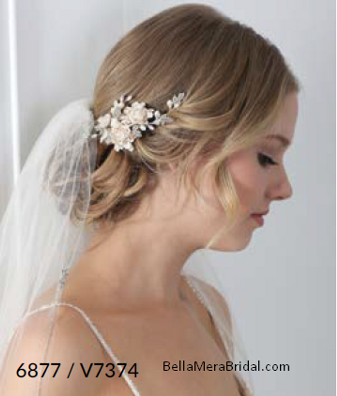 Bel Aire Bridal 6877 - Bridal clip of beaded edge veil with moonstone/rhinestone clusters
