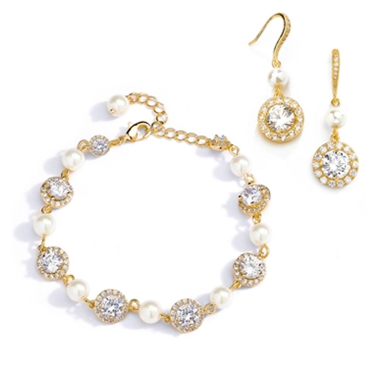 Ivory Pearl and Cubic Zirconia Bridal Bracelet and Earrings Set in 14K Gold 4580BS-I-G