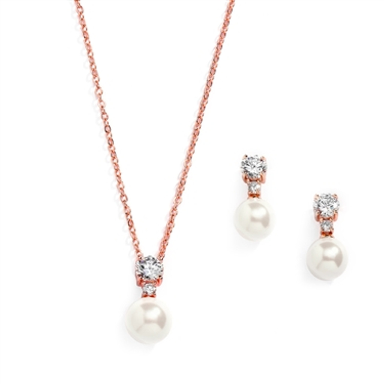 Rose Gold Pearl Drop Necklace Set with Round CZ 18S I RG