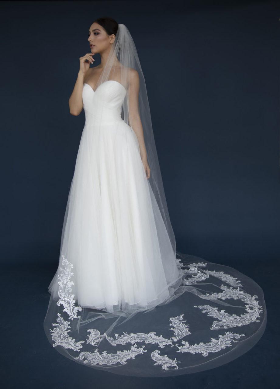 Elena Designs Wedding Veil Style E1305L - Lace Appliques with Rhinestones