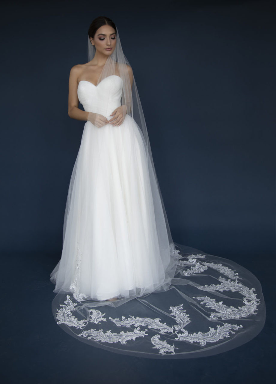 Elena Designs Wedding Veil Style E1305L - Lace Appliques with Rhinestones