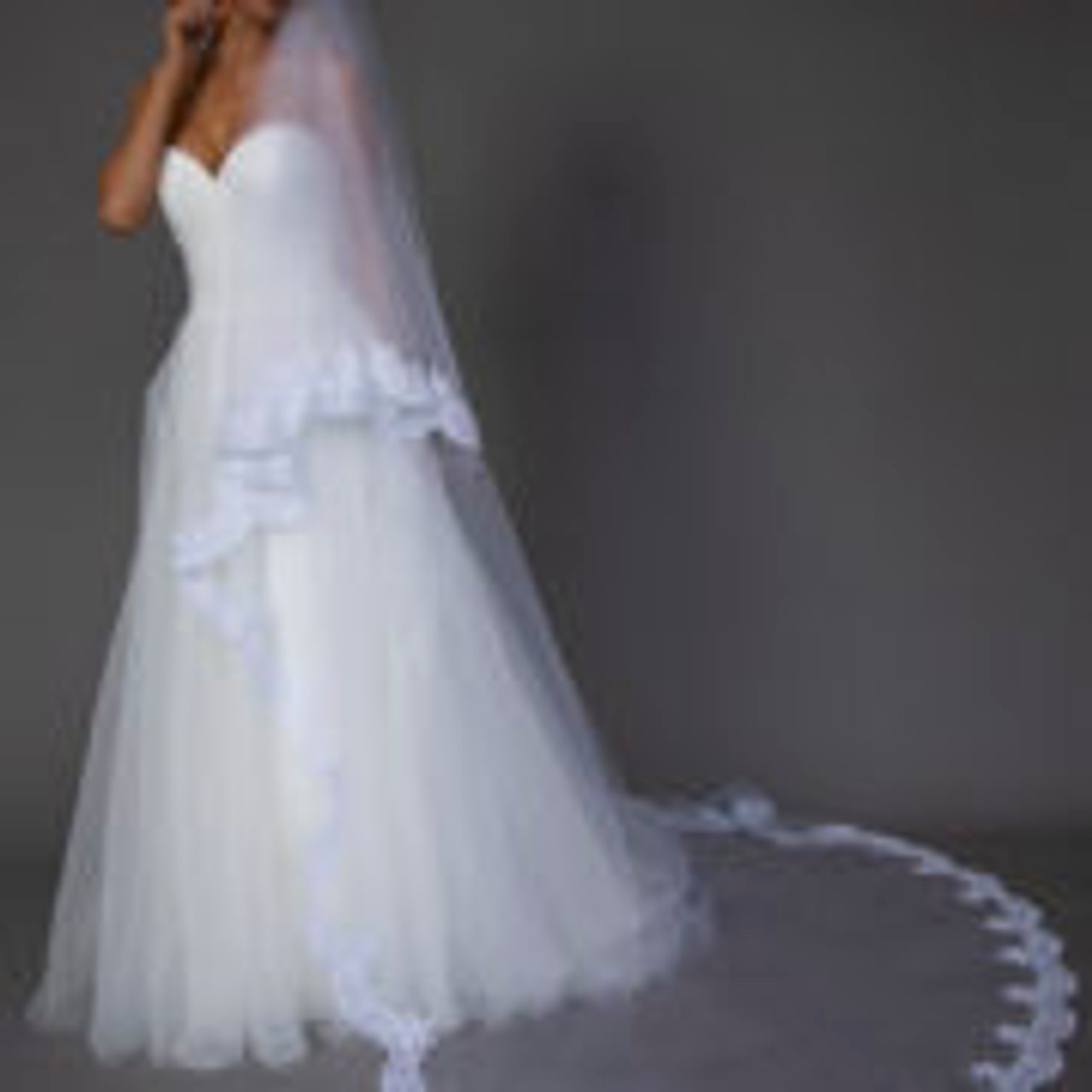 """Ansonia Bridal Veil Style 119L- Lace Cathedral Length - 120"""" Inches Long"""
