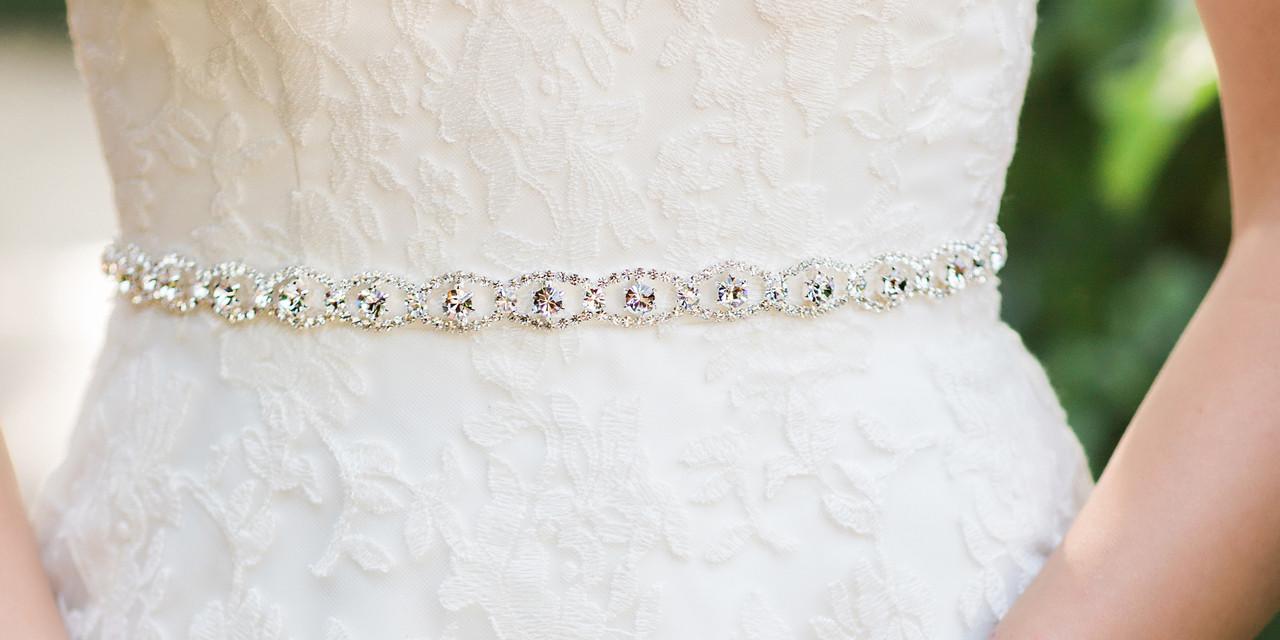 En Vogue Bridal Sash BT1889 - Rhinestone belt with organza ties