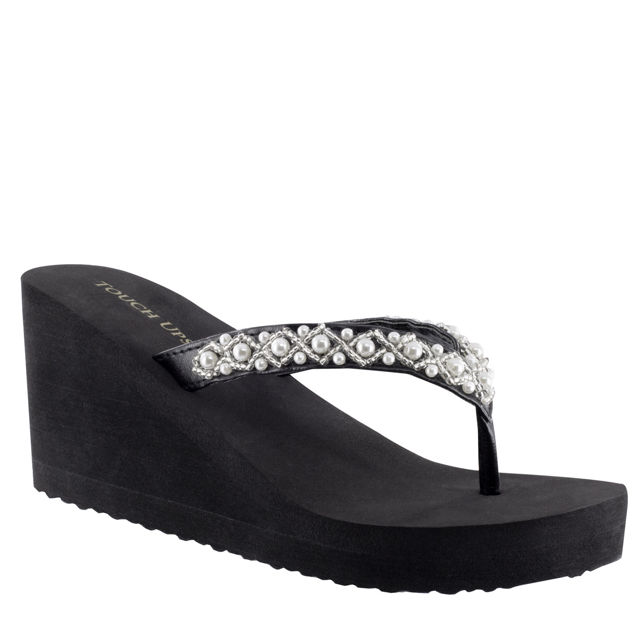 "Shelly Black Wedge Shoe - 2 1/2"" wedge and pearl accents Style 117"