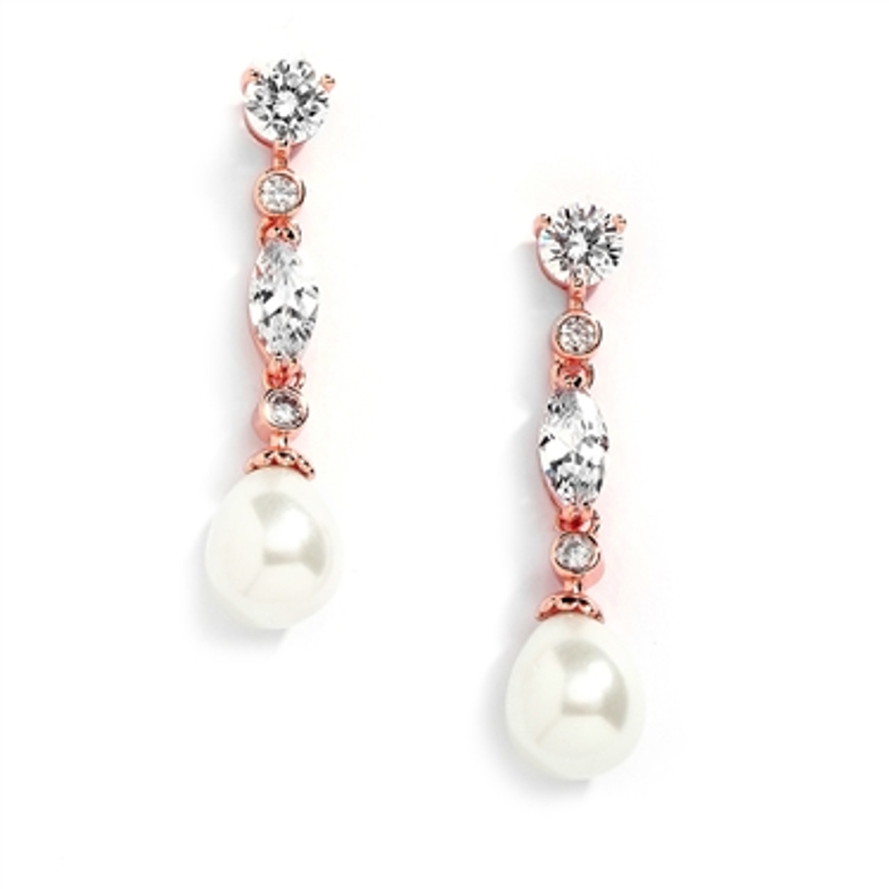 Rose Gold Linear CZ and Pearl Wedding Earrings 3035E-RG