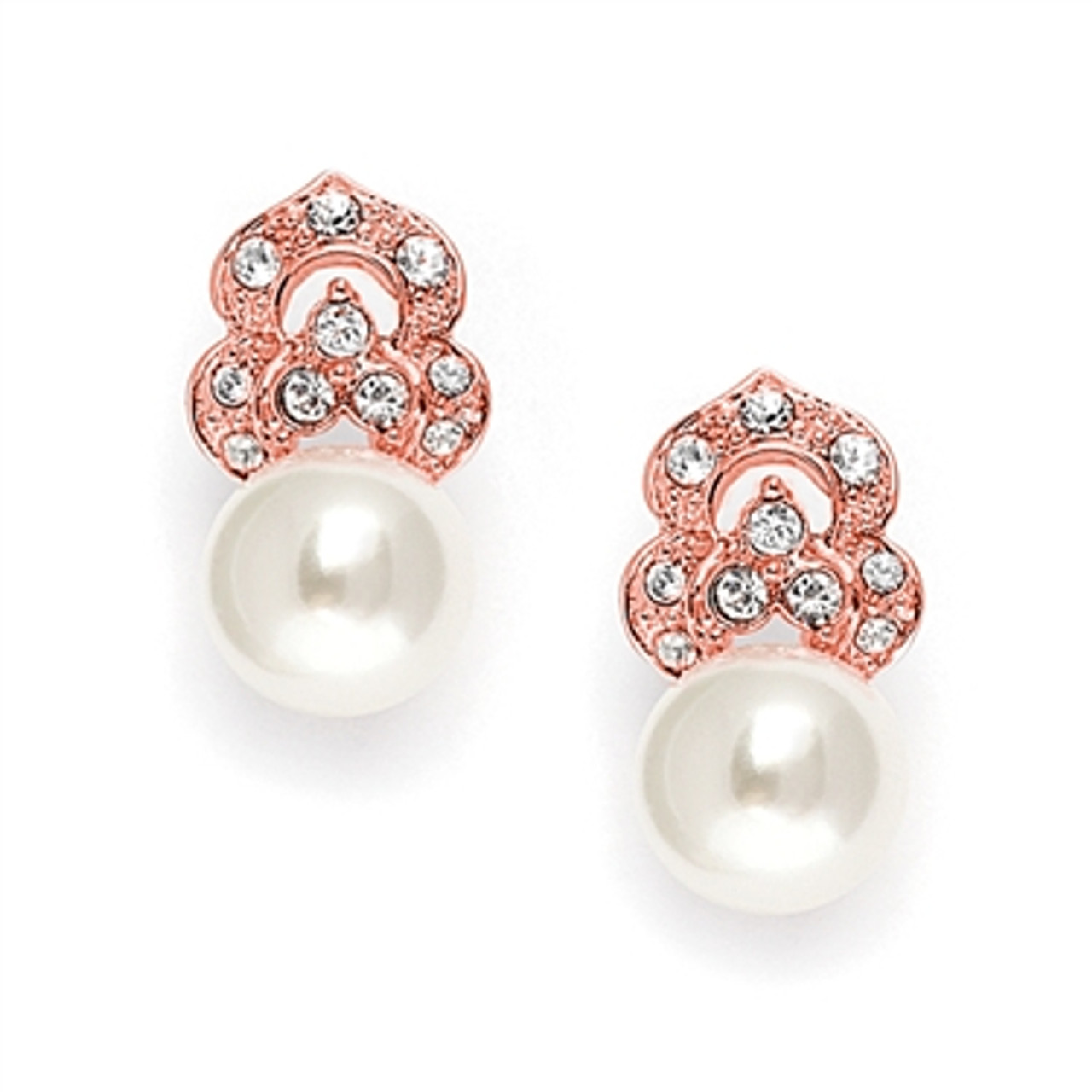 Rose Gold Cubic Zirconia & Soft Cream Pearl Vintage Wedding Earrings in Rose Gold 3827E-RG