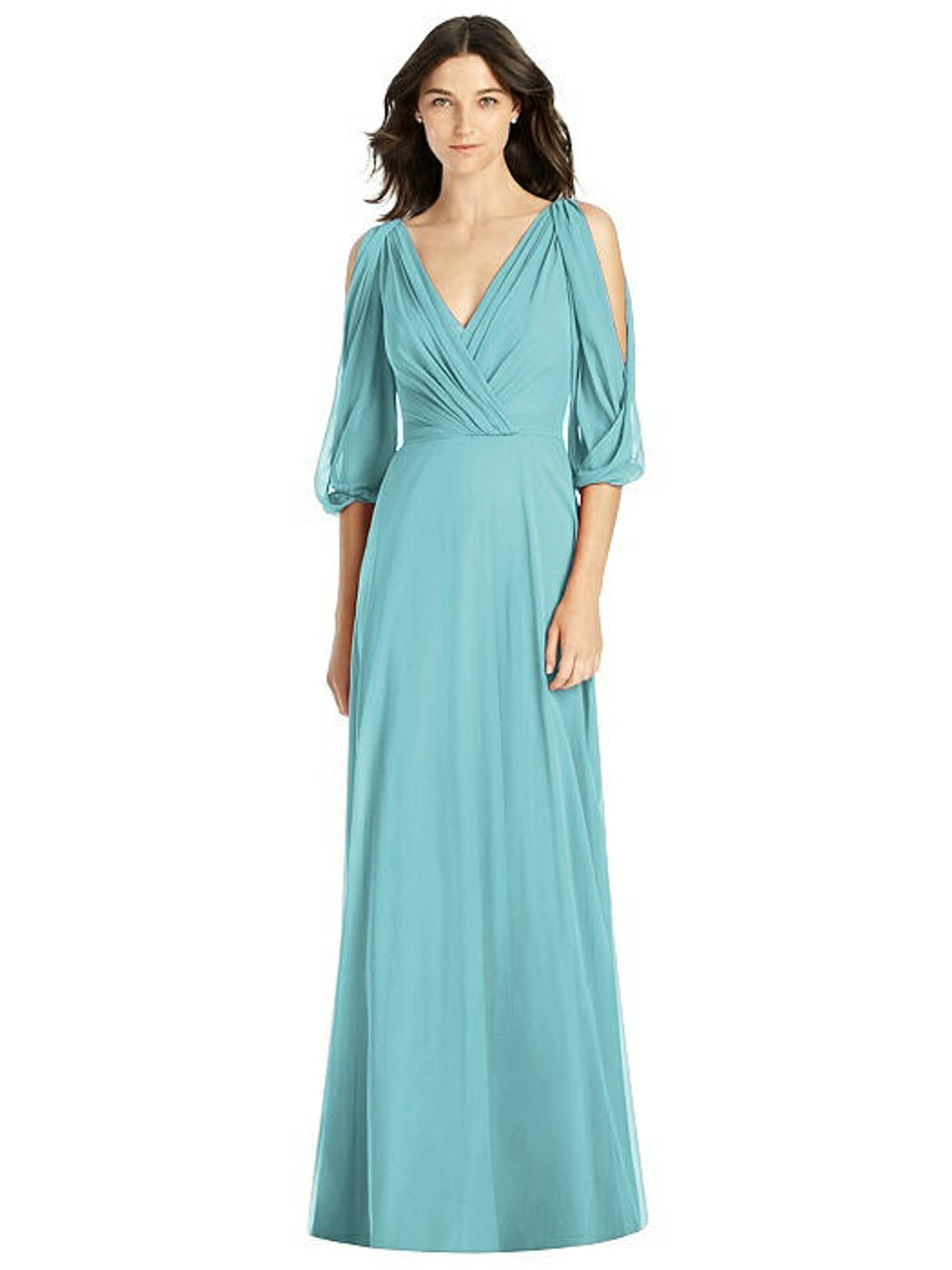 Jenny Packham Style JP1020 - Lux Chiffon - Bell sleeve and draped v-neckline and v-back