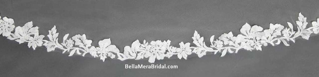 """Giselle Bridal Veil Style SP396 - Unbeaded Lace With Rolled Edge - 108"""" Long"""