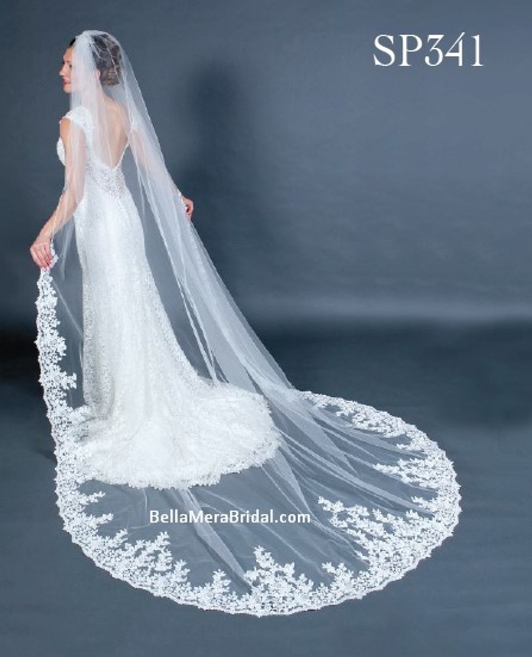 "Giselle Bridal Veil Style SP341 - Unbeaded Venice Lace - 108"" Long"