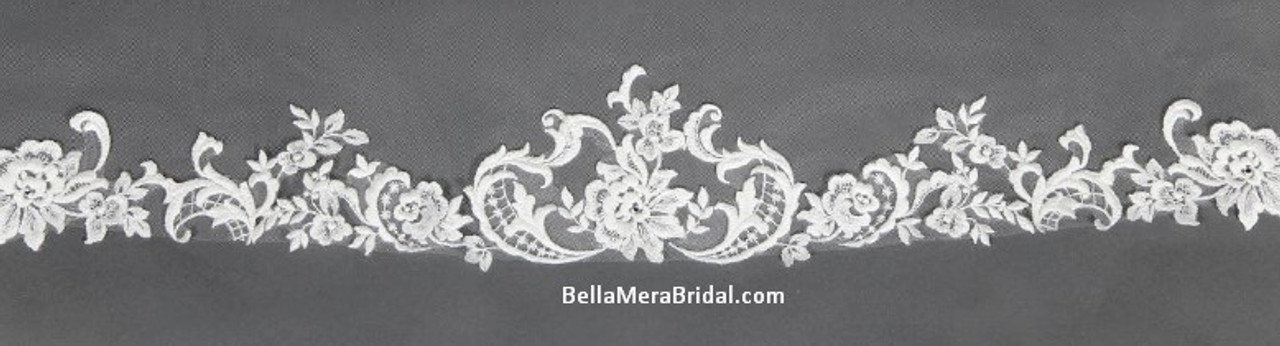 "Giselle Bridal Veil Style SP397 - Sequin Beaded Lace - 108"" Long"