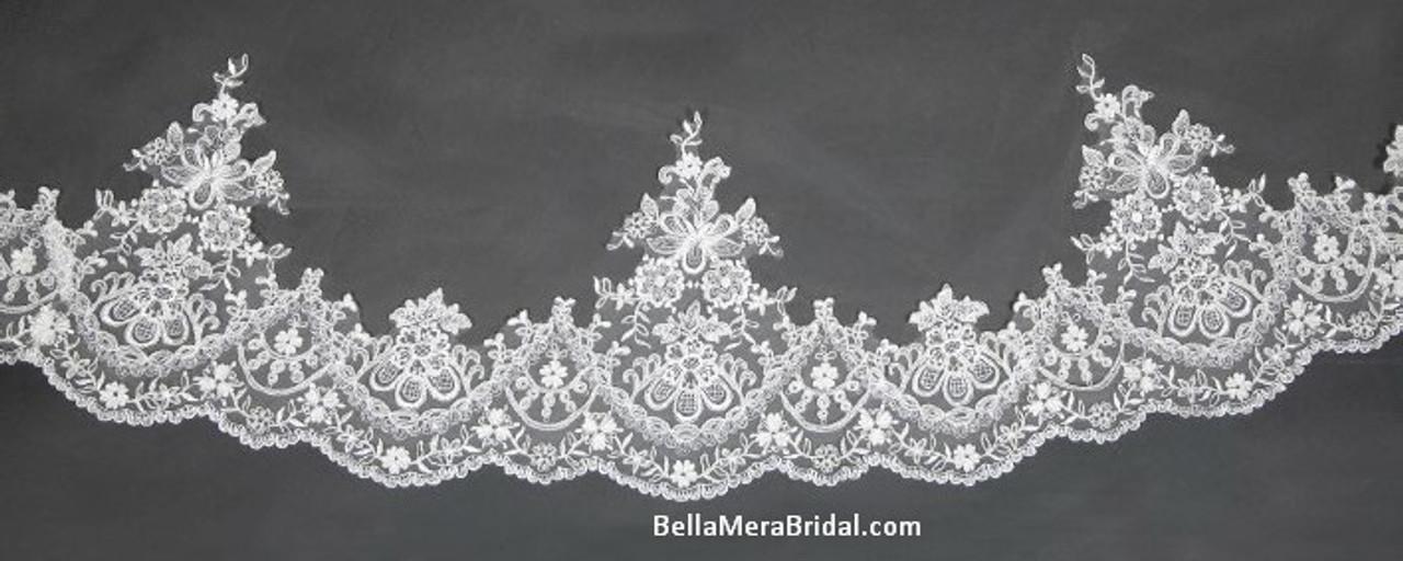 "Giselle Bridal Veil Style SP350 - Unbeaded Alencon Lace - 108"" Long"