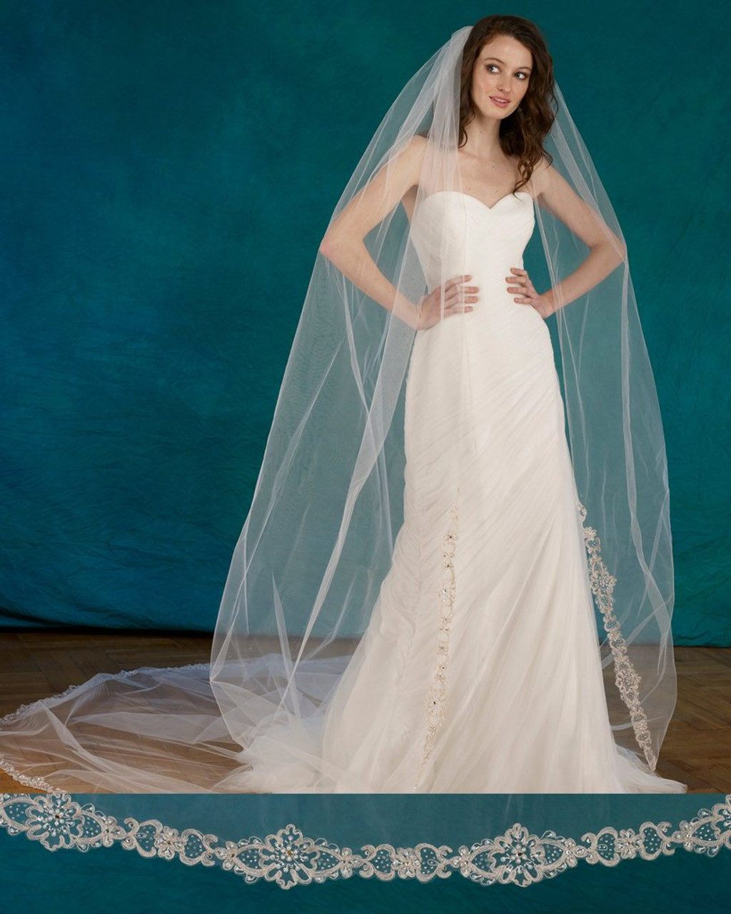 "Marionat Bridal Veils - 120"" Embroidered veil with pearls beads and rhinestones."