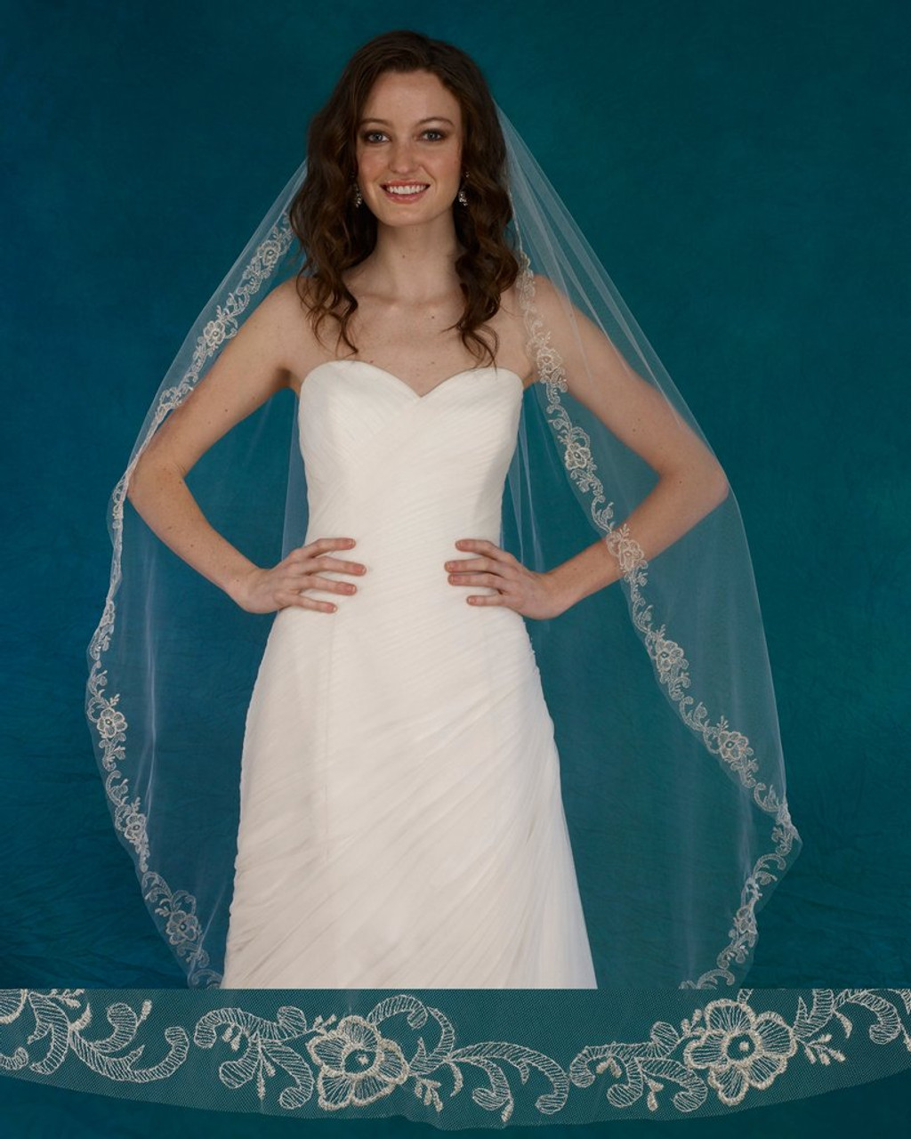 "Marionat Bridal Veils 3722 - 54"" Silver embroidered veil - The Bridal Veil Company"