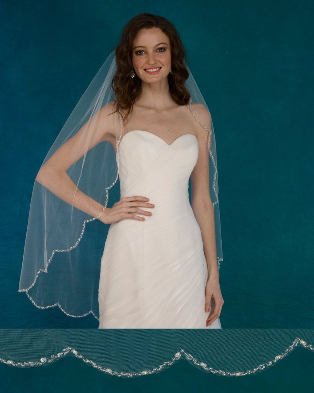 "Marionat Bridal Veils 3728 - 42"" Scalloped beaded pearl edge - The Bridal Veil Company"