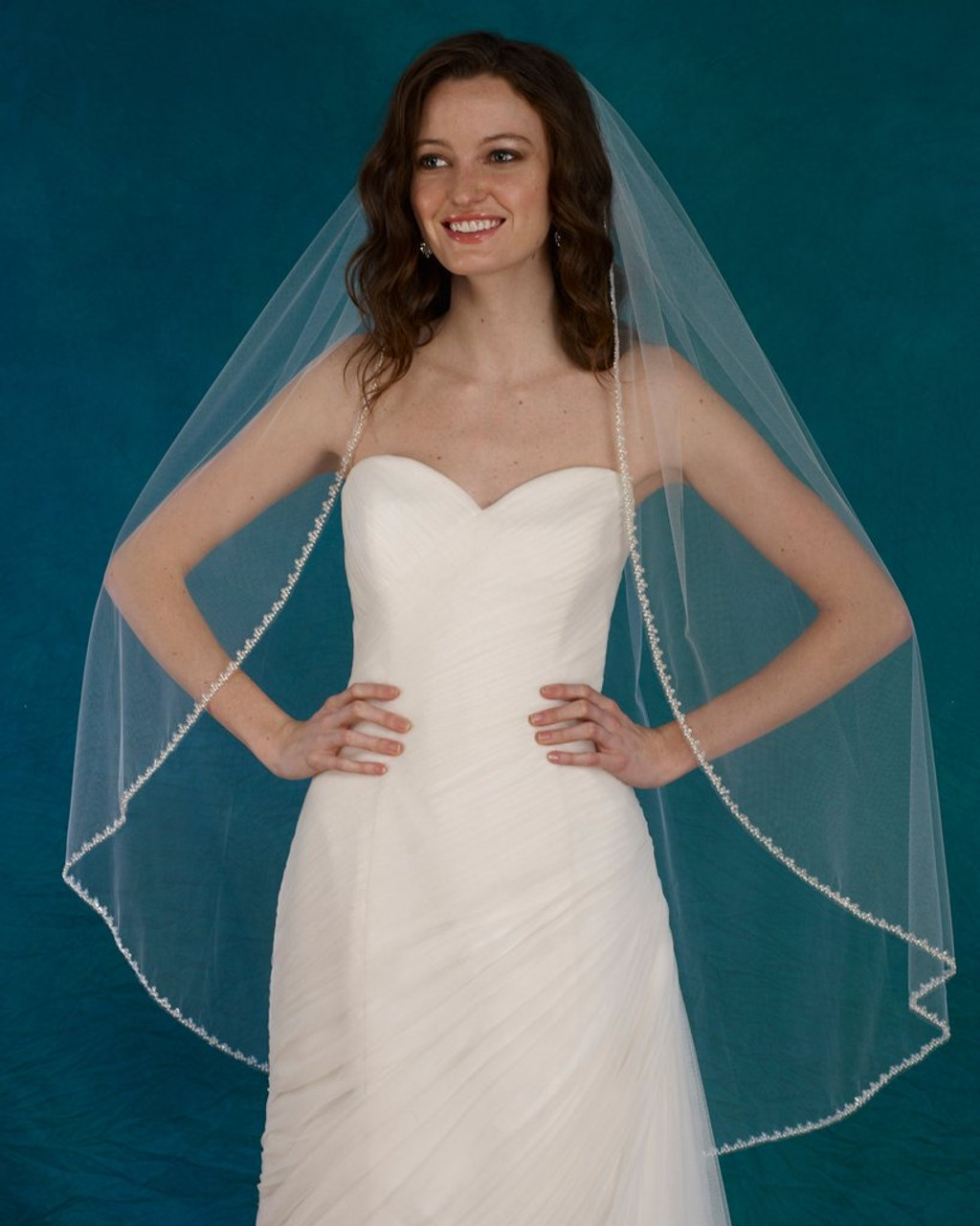 "Marionat Bridal Veils 3729 - 42"" Beaded pearl edge with sequins - The Bridal Veil Company"